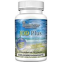 BIOMENTA Jodtabletten | Kaliumiodid + Eisen + Folsäure + Selen | 4 Monatskur | VEGAN | 120 Jod Tabletten hochdosiert