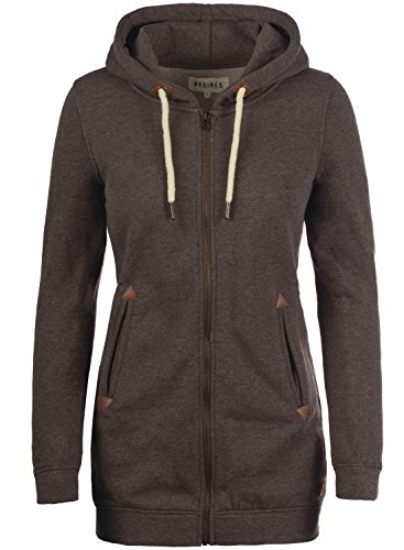 DESIRES Vicky Straight-Zip Damen Sweatjacke Kapuzen-Jacke Zip-Hoodie mit Fleece-Innenfutter aus hochwertiger Baumwollmischung, Größe:XXL, Farbe:Coffee Bean Melange (8973) (Zip Hoody Fleece Jacke)