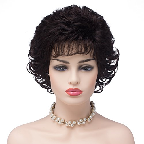 ken für Frauen Dunkelbraun Kurz Gelockt Kunsthaar Full Hair Perücken natürliche Wellen flauschig Cosplay Kostüm Perücke mit 2/33# (Nette Alte Dame Kostüme)
