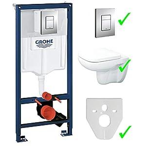 Grohe – Bastidor para montaje de pared Rapid SL con placa de accionamiento + inodoro de pared Lavita sin reborde +asiento de inodoro con dispositivo automático de descenso suave