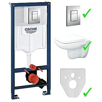 Grohe Rapid SL Excusa Element Incluye placa de accionado +, Lavita–Inodoro de pared sin cisterna borde +–Asiento de inodoro con dispositivo automático de descenso suave