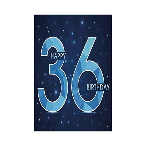 JKOVE Home Garden 36th Birthday Decorations Dots Star Space Inspired Stage with 36 Number Print Dark Blue and Sky Blueor Deko Süße Garten Flagge Rasta Dot