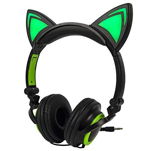 LIMSON Katzen-Ohr-Kopfhörer Scherzt Headphones, Faltbares über Ohr-Spiel-Headsets mit LED-Licht Ausstrahlendem Verdrahtetem Cosplay Kopfhörer (Schwarz&Grün)
