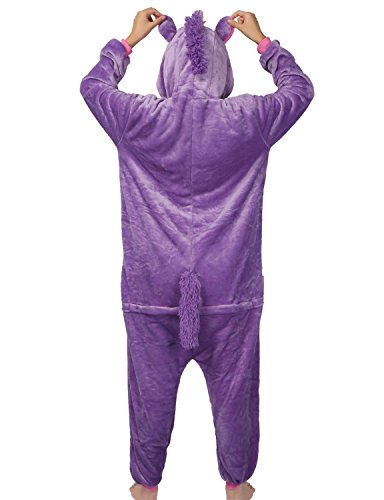 LATH.Pin® Jumpsuit Unisex animale cartone Carnevale costumi di Halloween Jumpsuit tuta pigiama in pile pigiama adulti Lounge Pferd Lila