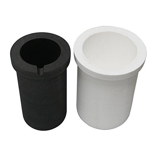 Fcloud Graphittiegel mit Keramikbehälter, Metallgussveredelung für Induktionsschmelzofen 4kg Gold oder 2kg Silber -