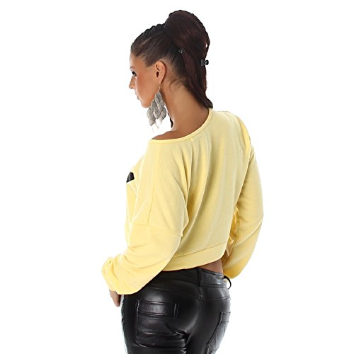 Voyelles Bauchfreier Damen Pullover mit Pinguin Gelb