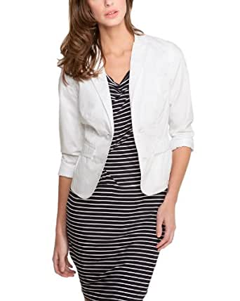 Comma Damen Blazer Regular Fit 81.305.54.6622 BLAZER, Gr. 38, Weiß (0100 white)
