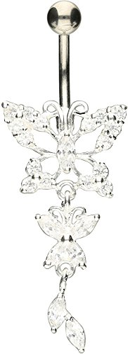 PIERCINGLINE Bauchnabelpiercing Titan | Schmetterlinge 925er Silber | Piercing ✔ Bananabell ✔ Banane ✔ | Farbenauswahl