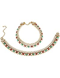 Ethnic Ruby Green Stone Made Antique Gold Plated Payal Anklet Pair Set For Women Party & Daily Wear Jewelry