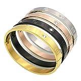 Pulsera para parejas, regalo para mujeres, acero de titanio, color dorado, joyería para hombres, pulseras y brazaletes con tornillo de cruz, metal, 8mm Gold No Stone, talla única