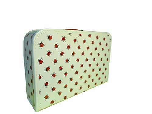 Koffer Pappe, weiß mit Marienkäfer, groß, 45cm, Pappkoffer