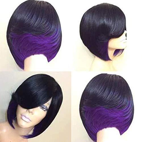 CPHGG Perücken Cosplay Party Perücke Frauen Persönlichkeit Mode Europäischen und Amerikanischen Damen Schwarz Kurze Glatte Haare Hochtemperatur Seide Perücke