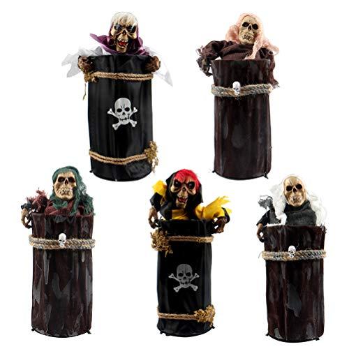�ngstigend beweglichen Piraten im Fass Skelett Ghost Halloween Hausgarten Hof Bar Spukhaus Dekorationen Halloween Party Favors 1PC zufällig ()