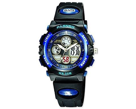 Water-proof Digital-analog Boys Girls Sport Digital Watch with Alarm Stopwatch Chronograph (Blue-black)