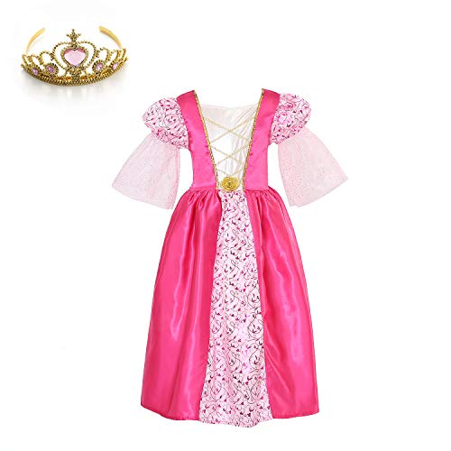 Mädchen Feuer Kostüm - Mädchen Rosa Mittelalter Prinzessin Kleid mit Tiara 3-4Jahre