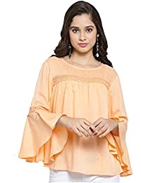 a48bab17e2b indietoga Women s Peach Rayon Top (Bell Sleeves Plus Size)