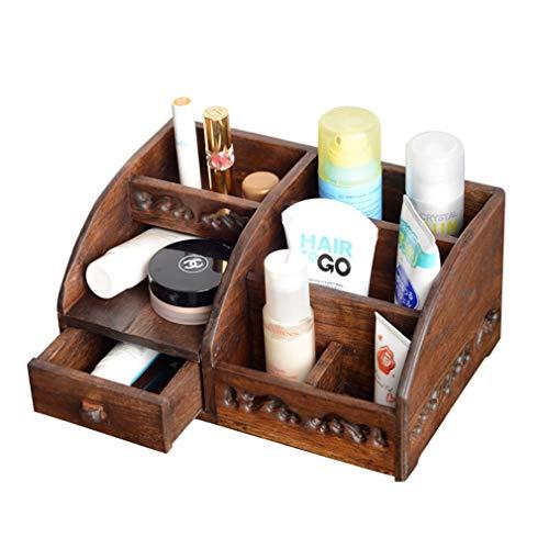 Organisateur de Maquillage en Bois, Boîte de Rangement pour Maquillage Cosmétique, Étui pour Cube D'affichage de Montres À Bijoux, pour Toners, Crèmes, Pinceaux de Maquillage, Rouges À Lèvres