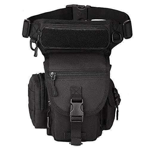 BondFree Beintasche Hüfttasche Tactical Hip Bag Sport Taktische Militär Tropfen Bein Schenkel Bag Dienstprogramm Gürtel Tasche BeinbeuteTaktische für Motorradfahren Radsport (Stil1-Schwarz)