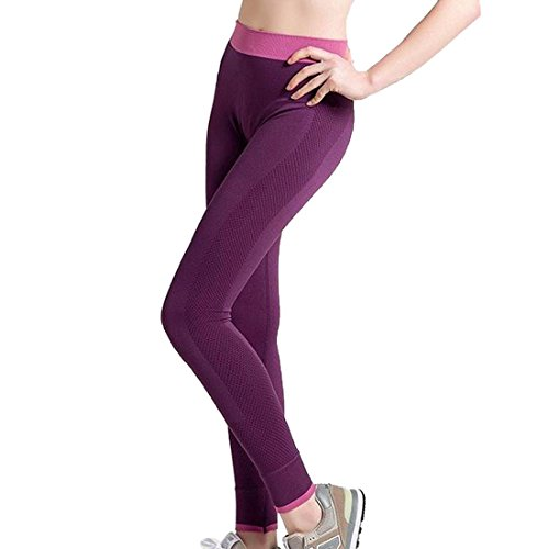 laamei 1pc Legging Pantalon de Sport Slim Femme Fitness Gym Respirant Sechage Rapide Pantalon Violet