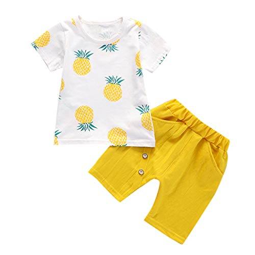 Kleinkind Baby Kinder Jungen Ananas-T-Shirt Tops Solid Short Sommer Urlaub Strand Casual Fashion Lovely Outfit Set Gr. 110 cm/XL, gelb