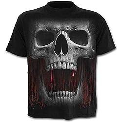 XS CAR Camiseta de Hombre - Cuello Redondo de Calavera, Negro, XL