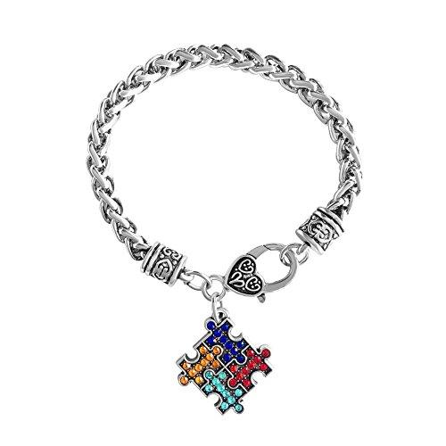 Conciencia del autismo Puzzle Jigsaw clásico de cristal pulsera del encanto de la moda