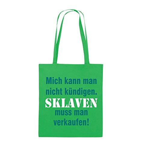 Comedy Bags - Mich kann man nicht kündigen. Sklaven muss man verkaufen! - Jutebeutel - lange Henkel - 38x42cm - Farbe: Schwarz / Weiss-Neongrün Grün / Türkis-Weiss
