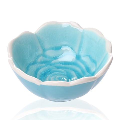 Kreative kleine Rose Keramikplatte/Ice gebrochene Glasur gewürzt Sojasoße Essig eintauchen Dish/Platte/die Küche hot pot Sauciere, 8,5 * 4 cm, blau