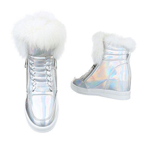 High-Top Sneaker Damenschuhe High-Top Keilabsatz/ Wedge Zipper Reißverschluss Ital-Design Freizeitschuhe Silber