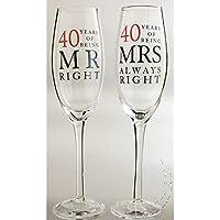 Juego de copas de champán para bodas de rubí (40º aniversario ...