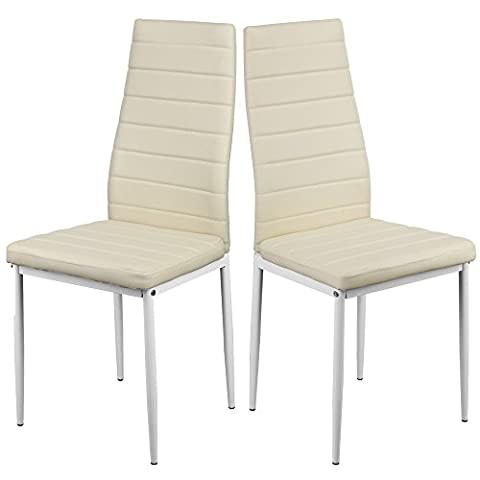 1home Dining Chair High Back Modern Faux Leather Kitchen Dining Room Table Chairs Metal Legs Cream