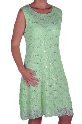 EyeCatch in Übergrößen - Fabia Frauen ärmellose Floral Stretch Pailletten Lace kurzes mini Abend Kleid Plus Size Mint Grun Gr. 52 - (Size Kleid Plus Mint)
