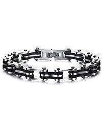 Vnox Pulsera de la pulsera de la cadena de la bici de la motocicleta de la roca del silicón del acero inoxidable de los hombres,plata