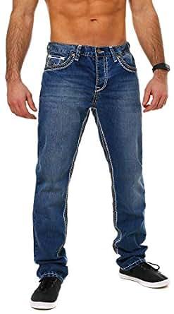 Amica Herren denim Jeans Hose straight leg gerade Passform vintage look mit Kontrastnähte, Grösse:W30;Farbe:Blau / Beige-Weiß