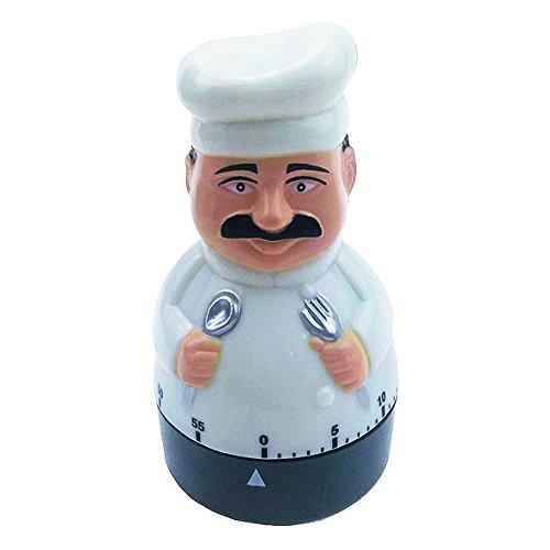 ADE Mechanischer Küchentimer TD 1603. Klassischer Kurzzeitmesser als Koch-Figur aus hochwertigem ABS-Kunststoff zum Aufziehen. Akustisches Signal nach Zeitablauf. Zuverlässige Eieruhr. Rundskala (Ei-timer Digital)