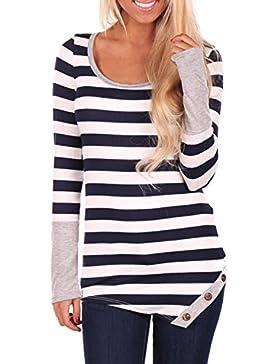 Casual manga larga de la mujer rayas camiseta Tops