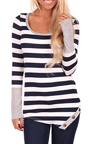 Casual manches longues des femmes rayures T-Shirt Tops 02