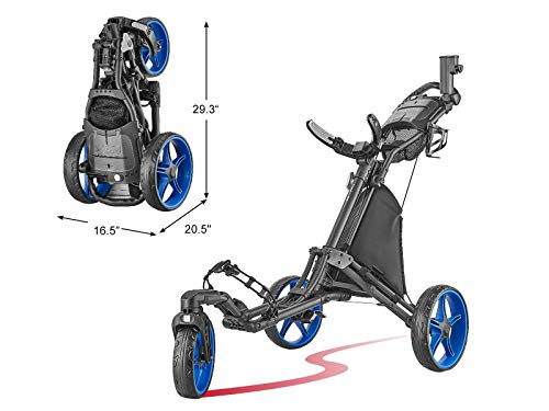 tour-made Caddytek EZ Quickfold V8 Swivel 3 Rad Golf Push Trolley Pushtrolley 3wheel schwarz/blau