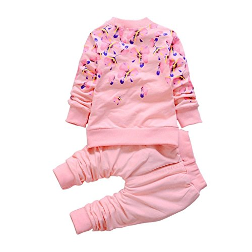 Bambini Bambine Primavera Autunno fiori stampa T-shirt manica lunga Set Pants Pink 100 cm