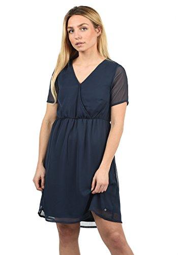 BlendShe Charlotte Damen Freizeitkleid Kleid Mit V-Ausschnitt Knielang, Größe:L, Farbe:Mood Indigo Solid (20064) (Solid-jersey-kleid)