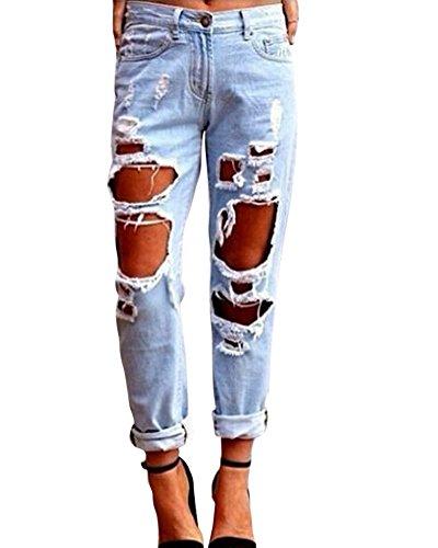Kasen jeans da donna distrutti strappati sigaretta pantaloni azzurro chiaro l