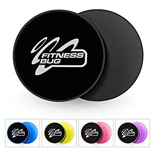 FitnessBug 2 x Core Sliders Gliding Discs Fitness Gym Abs Exercise Core Workout with Carry Bag (Black)