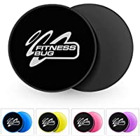 FitnessBug 2 x Core Sliders Gliding Discs Fitness Gym Abs Exercise Core Workout with Carry Bag