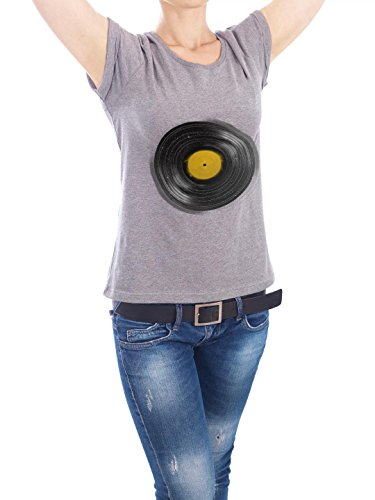 "Design T-Shirt Frauen Earth Positive ""Sound System"" - stylisches Shirt Abstrakt von Florent Bodart Grau"