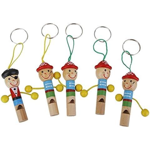 SODIAL(R)5pz Carino pirata fischio di legno con portachiavi per bambini Giochi