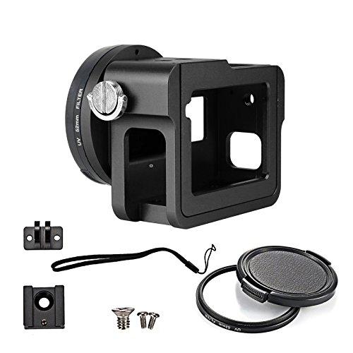 Gurmoir Aluminium Legierung Gehäuse für Gopro Hero 6 Black Action Kamera,Metall Seite offen Schutzhülle Etui mit Objektivdeckel und UV-Filter