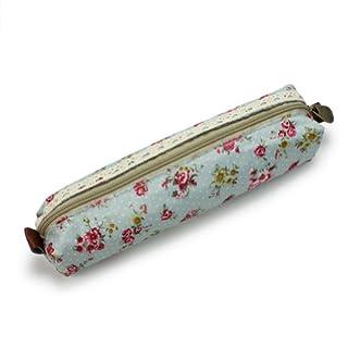 Damen Kosmetiktasche Federmappe, mit Spitze, florales Design, Grün