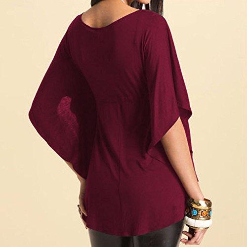 T Shirt Donna Estate Eleganti Taglie Forti Camicia V Scollo Casual Manica Corta Maglietta Puro Colore Sciolto Top Blusa rossi