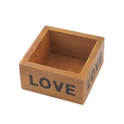 JUNGEN Scatola di immagazzinaggio cosmetica da tavolino Stampata Amore del Vaso di Fiori della Scatola di immagazzinaggio del Vaso da Fiori di Legno Quadrato (Retro)