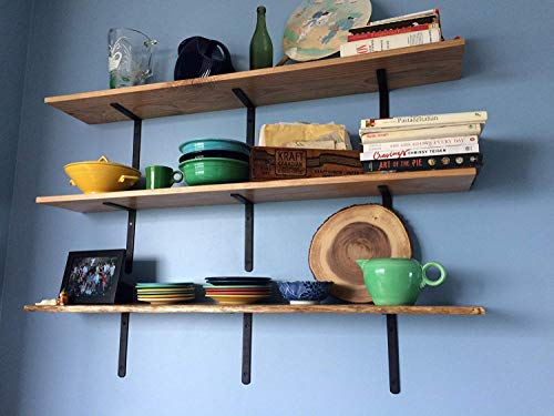 A10SHOP Metal L Shaped Wall Shelf Angle Brackets (6x4 Inch, Black) - Set of 2